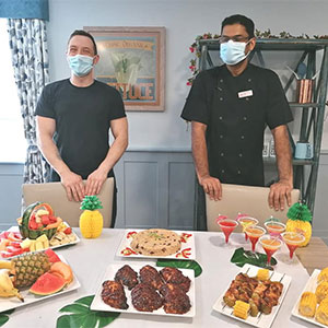 Residents at Beech Lodge Care Home enjoy a tropical staycation