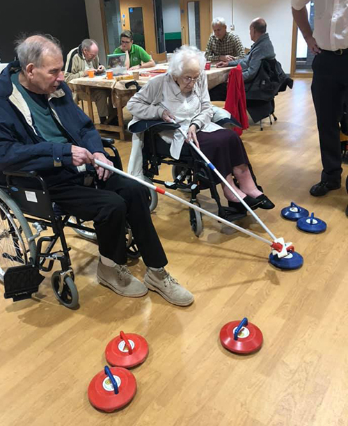 Eccleshare Court residents curling at their local leisure centre